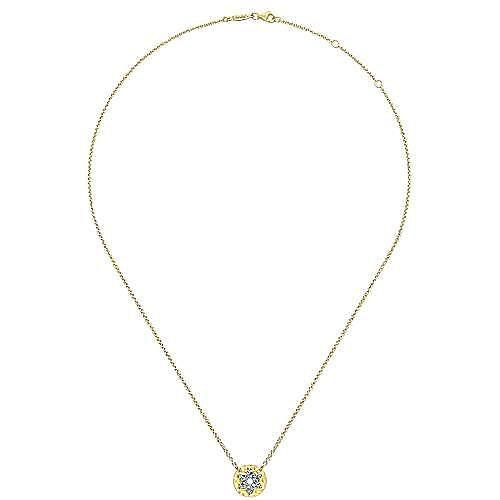 14k Yellow Gold Faith Star Of David Necklace angle 2