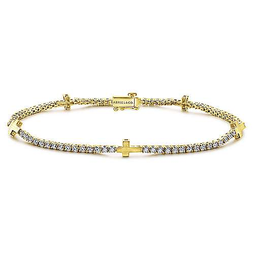14k Yellow Gold Faith Tennis Bracelet angle 1