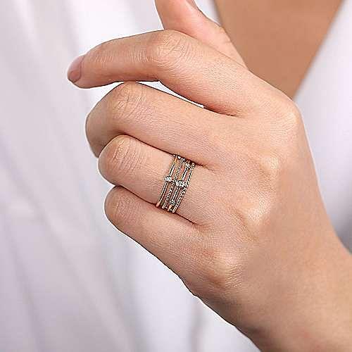 14k Yellow Gold Fashion Bezel Set Diamond Ladies Ring