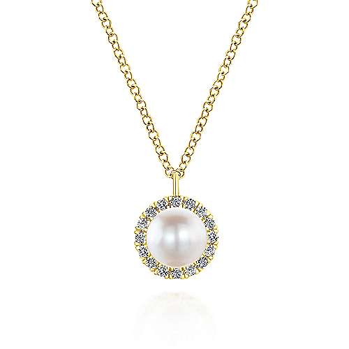Gabriel - 14k Yellow Gold Fashion Colorful Diamond Cultured Pearl Necklace