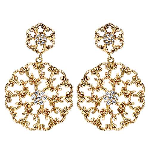 14k Yellow Gold Flirtation Drop Earrings angle 1