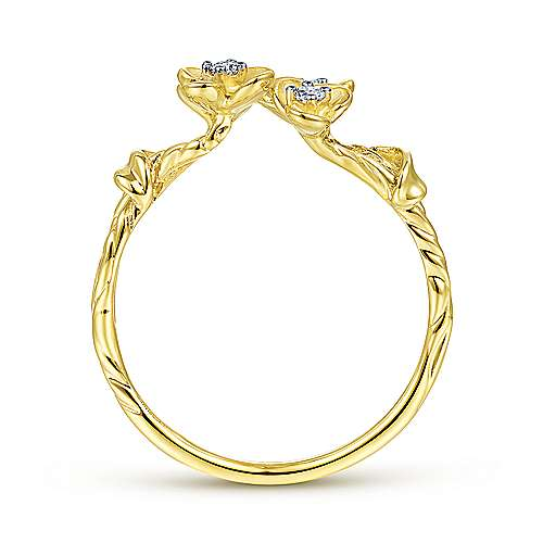 14k Yellow Gold Floral Fashion Ladies' Ring angle 2