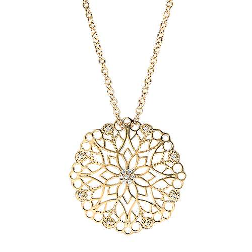 Gabriel - 14k Yellow Gold Floral Fashion Necklace