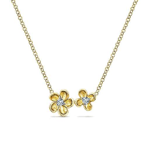 14k Yellow Gold Floral Fashion Necklace angle 1