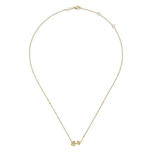 14k Yellow Gold Floral Fashion Necklace angle 2