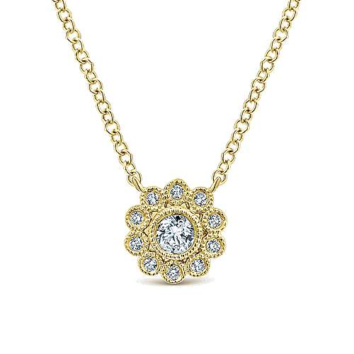14k Yellow Gold Floral Fashion Necklace