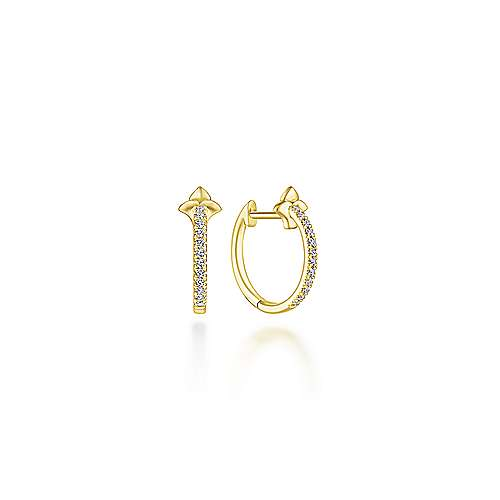 14k Yellow Gold Floral Inspired Diamond Huggie Earrings