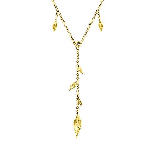 14k Yellow Gold Floral Lariat Necklace angle 1