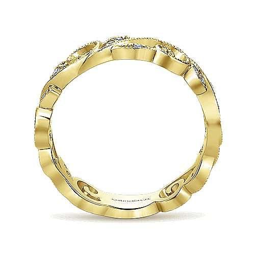 14k Yellow Gold Floral Midi Ladies Ring