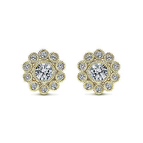 Gabriel - 14k Yellow Gold Floral Stud Earrings