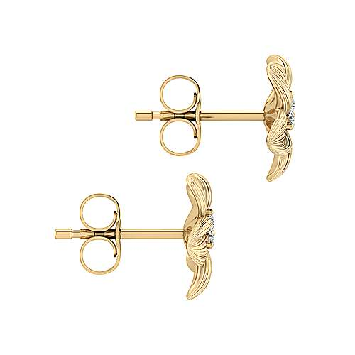 14k Yellow Gold Floral Stud Earrings angle 3
