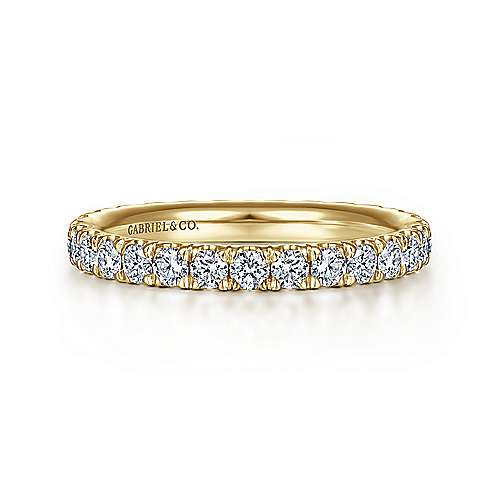14k Yellow Gold French Pavé Set Eternity Band