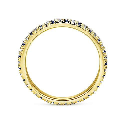 14k Yellow Gold French Pave Set A Quality Sapphire and Diamond Eternity Band
