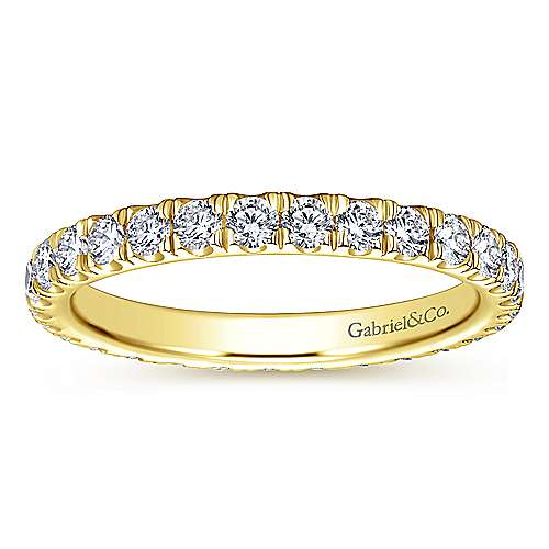 14k Yellow Gold French pave Set Eternity Band