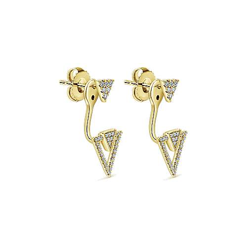 14k Yellow Gold Gemini Earrings Peek A Boo Earrings angle 2