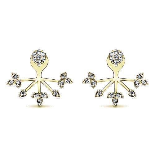 14k Yellow Gold Gemini Earrings Peek A Boo Earrings angle 1