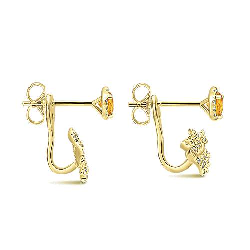 14k Yellow Gold Gemini Earrings Peek A Boo Earrings angle 3