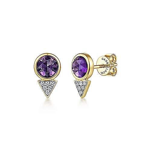 14k Yellow Gold Geometric Amethyst & Diamond Cluster Stud Earrings