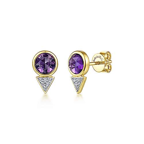 14k Yellow Gold Geometric Amethyst and Diamond Cluster Stud Earrings
