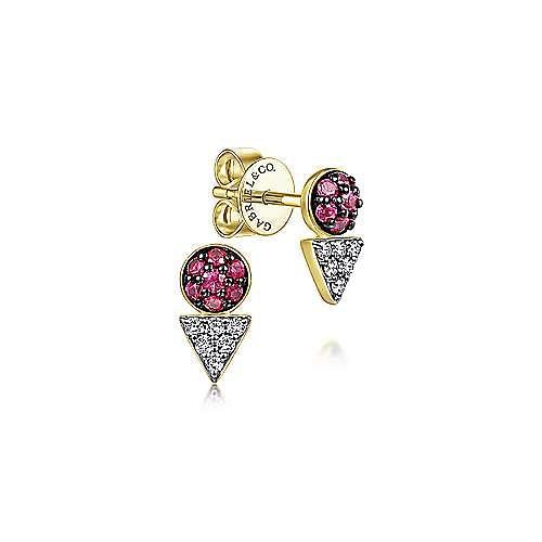14k Yellow Gold Geometric Diamond and Ruby Stud Earrings