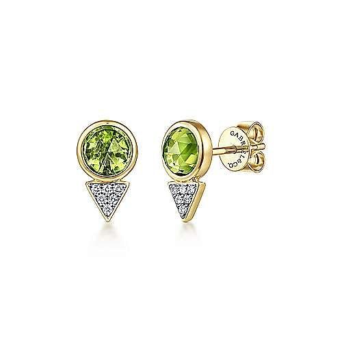 14k Yellow Gold Geometric Peridot & Diamond Cluster Stud Earrings
