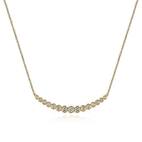 Gabriel - 14k Yellow Gold Graduated Round Bezel Set Diamond Curved Bar Necklace