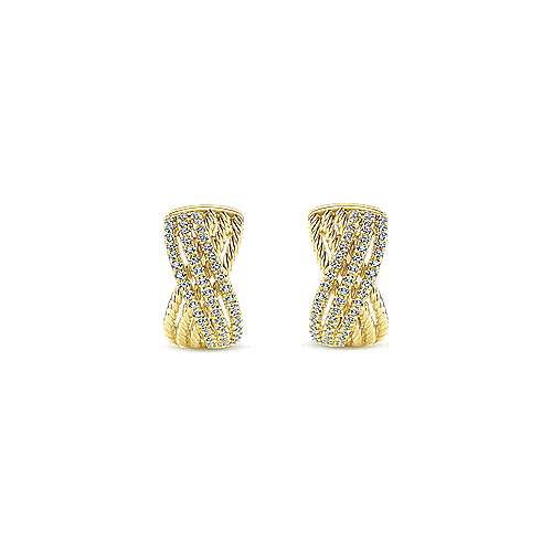 14k Yellow Gold Hampton Huggie Earrings angle 3
