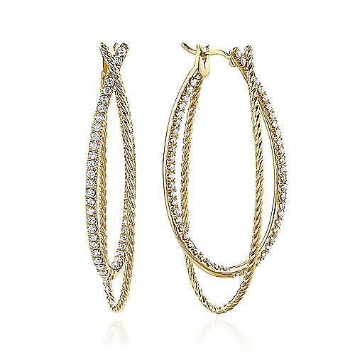 Gabriel - 14k Yellow Gold Hampton Intricate Hoop Earrings