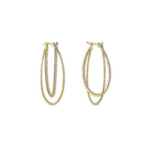 14k Yellow Gold Hampton Intricate Hoop Earrings angle 3