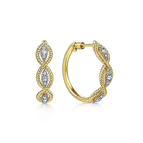 14k Yellow Gold Hampton Intricate Hoop Earrings