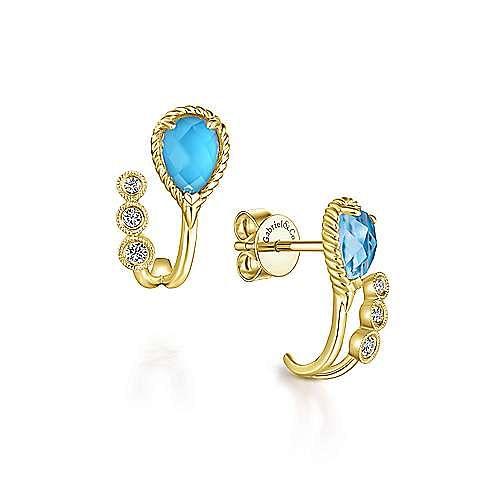 14k Yellow Gold Hampton J Curve Earrings angle 1