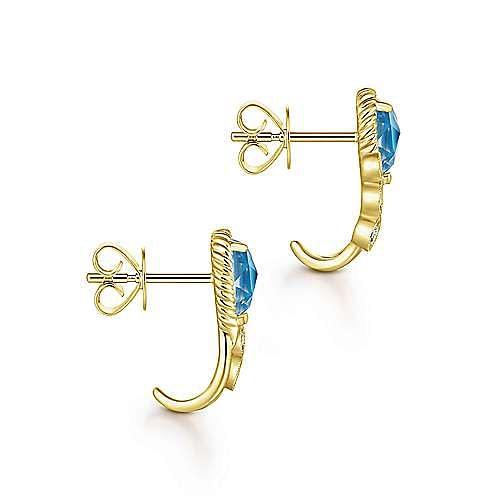 14k Yellow Gold Hampton J Curve Earrings angle 3