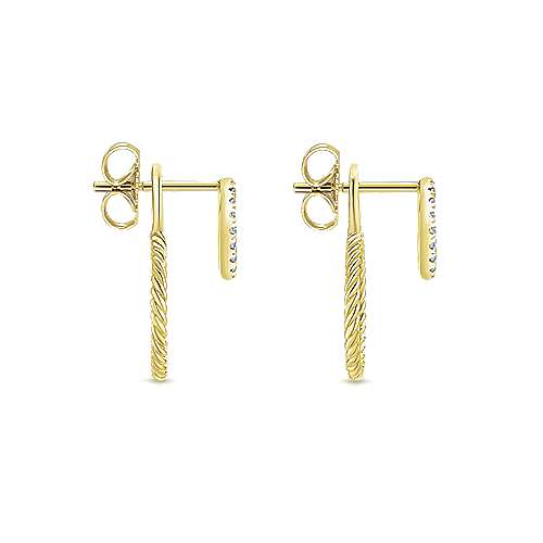 14k Yellow Gold Hampton Peek A Boo Earrings angle 3
