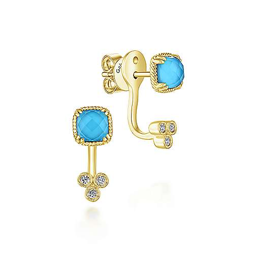 14k Yellow Gold Hampton Peek A Boo Earrings