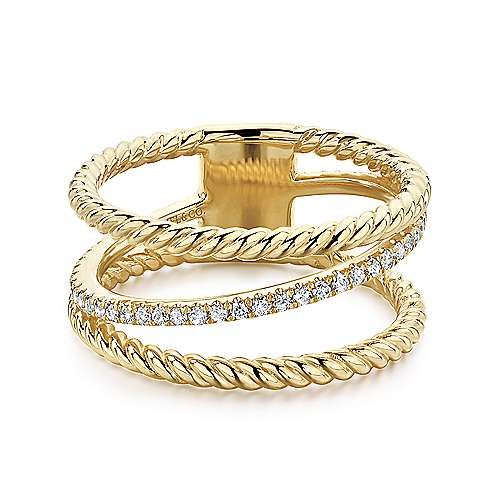 Gabriel - 14k Yellow Gold Hampton Twisted Ladies Ring