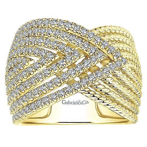 14k Yellow Gold Hampton Wide Band Ladies' Ring angle 4