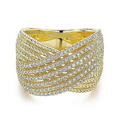 Gabriel - 14k Yellow Gold Hampton Wide Band Ladies' Ring