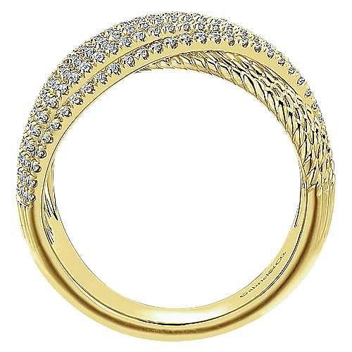 14k Yellow Gold Hampton Wide Band Ladies' Ring angle 2