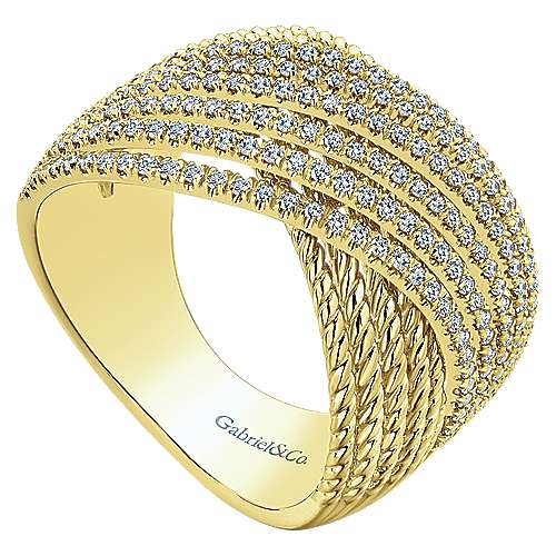 14k Yellow Gold Hampton Wide Band Ladies' Ring angle 3
