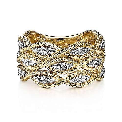 Gabriel - 14k Yellow Gold Hampton Wide Band Ladies Ring