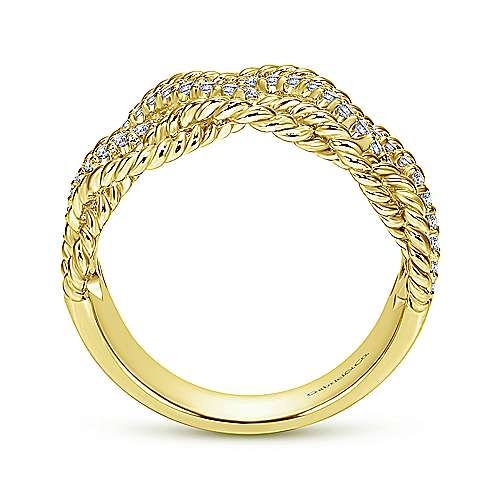14k Yellow Gold Hampton Wide Band Ladies' Ring angle 2