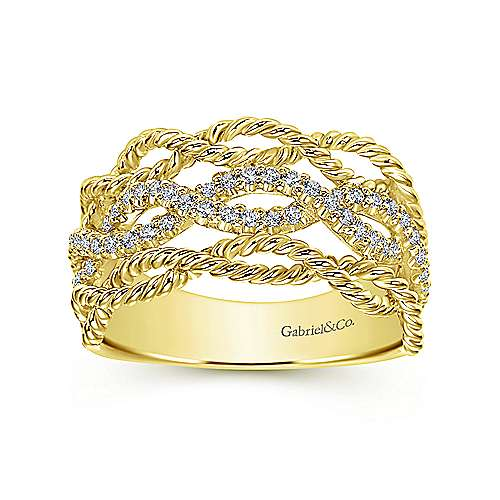 14k Yellow Gold Hampton Wide Band Ladies' Ring angle 4