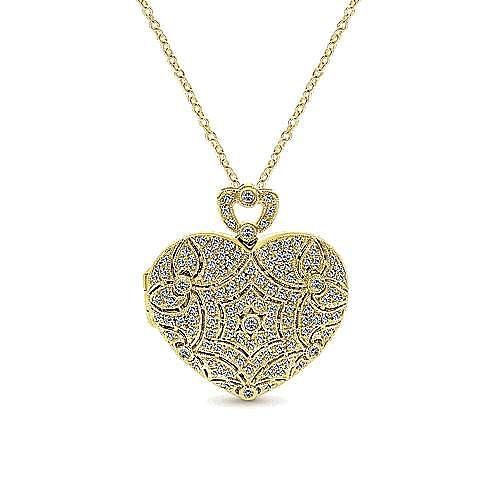 14k Yellow Gold Heart Shaped Openwork Diamond Locket Necklace