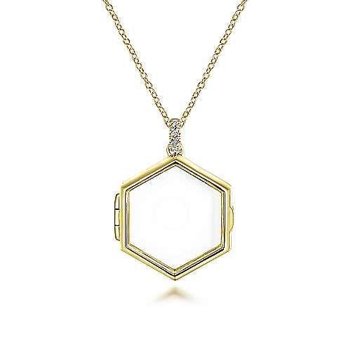 Gabriel - 14k Yellow Gold Hexagonal Glass Front Locket Necklace