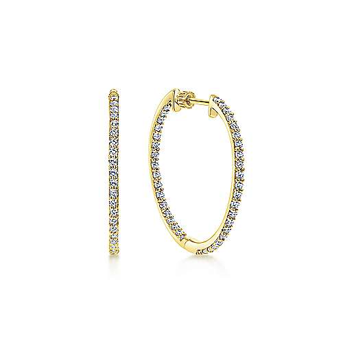 14k Yellow Gold Hoops Classic Hoop Earrings angle 1