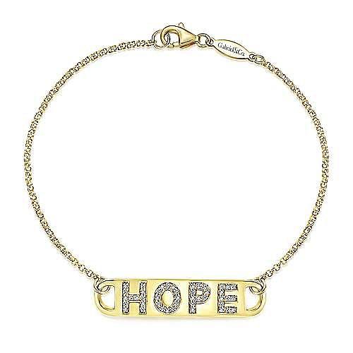 14k Yellow Gold Hope Chain Bracelet