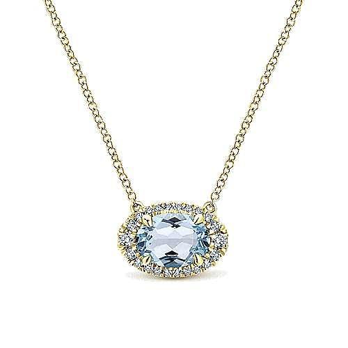 14k Yellow Gold Horizontal Oval Aquamarine Diamond Halo Fashion Necklace