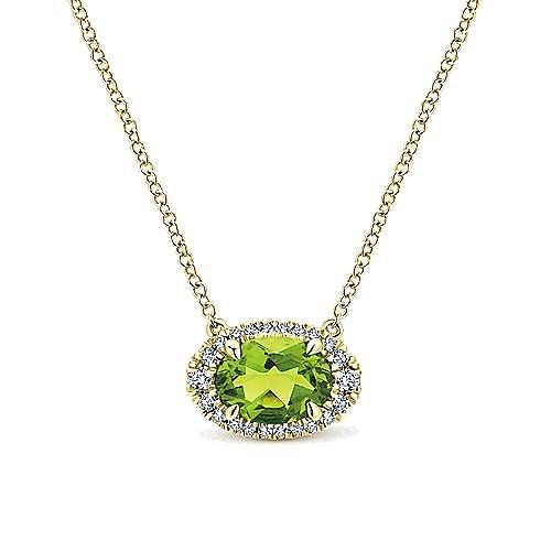 14k Yellow Gold Horizontal Oval Peridot Diamond Halo Fashion Necklace