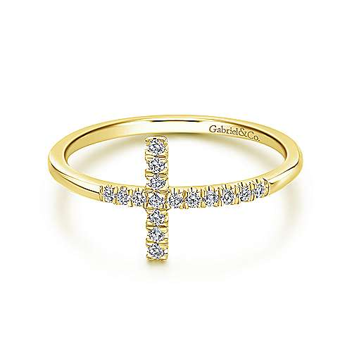 14k Yellow Gold Horizontal Pave Diamond Cross Ladies Ring