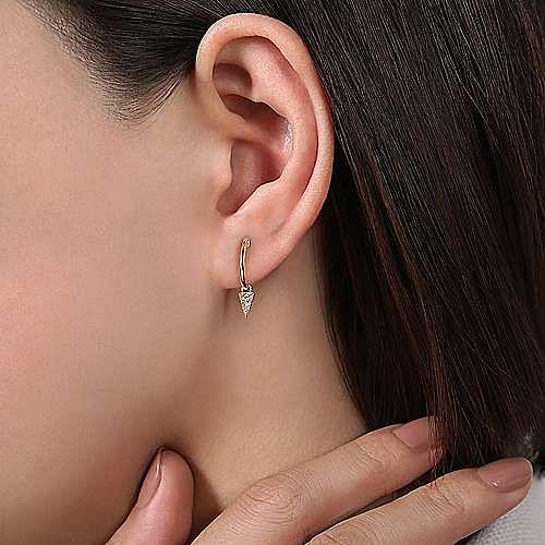 14k Yellow Gold Huggie Drop Earrings
